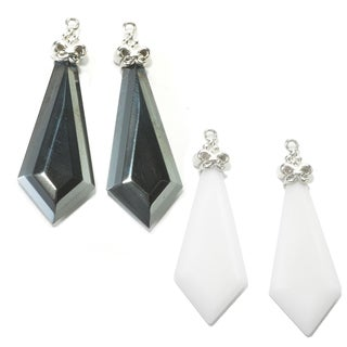 Dallas Prince Sterling Silver Kite Shaped interchangeable Hematite or White Agate Enhancer Drops