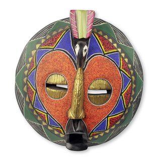 African Beaded Mask, 'Akoma Bird' (Ghana)
