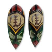 African Wood Masks, 'None But God' (Pair) (Ghana) - multi