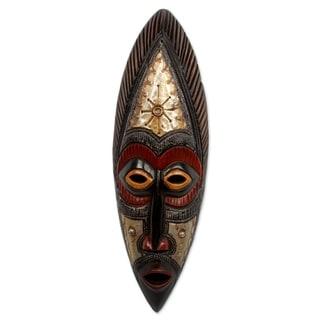 Handmade Star Deity Akan Wood Mask (Ghana) - Black