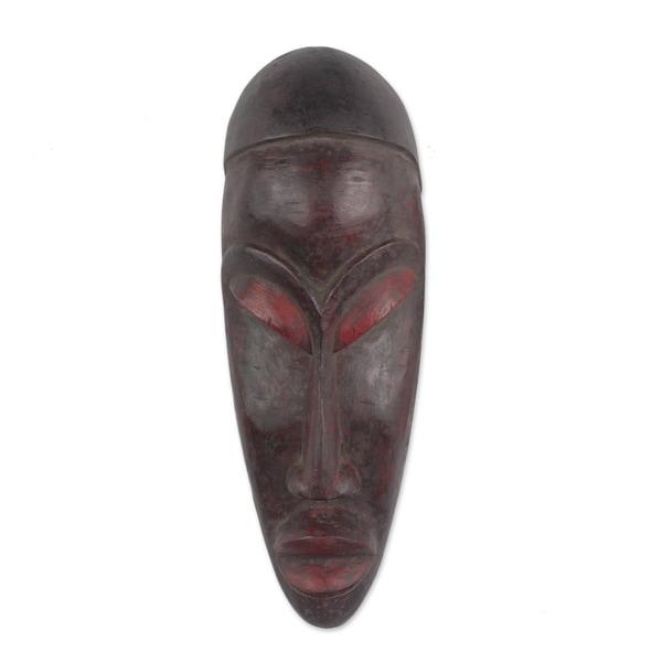 Yoruban Wood African Mask, 'Gelede Mourning' (Ghana) - Brown/Red