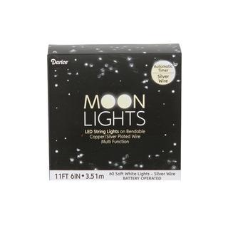 Darice Moon Light LED/Timer 11ft Slv 60 Soft Wht