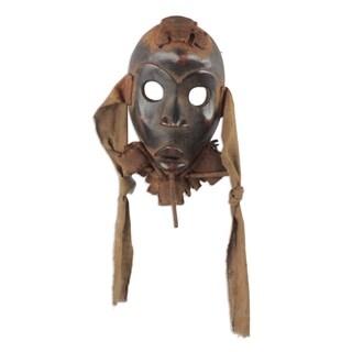Nigerian Wood and Jute Mask, 'Heart Fortunes' (Ghana)