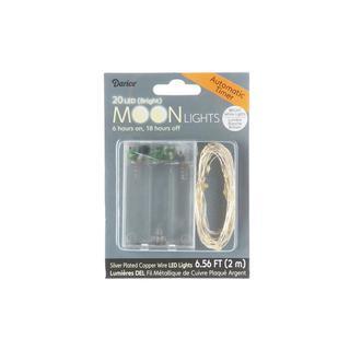 Darice Moon Light LED/Timer 6.5ft Slv 20 Brt White