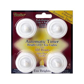 Darice Bright LED Tea Light with Timer 100 Hr 4pc