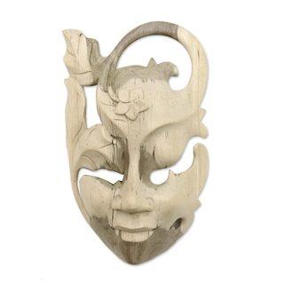 Handmade Frangipani Flower Woman Wood Mask (Indonesia) - TAN
