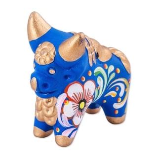 Ceramic Figurine, 'Little Blue Pucara Bull' (Peru)