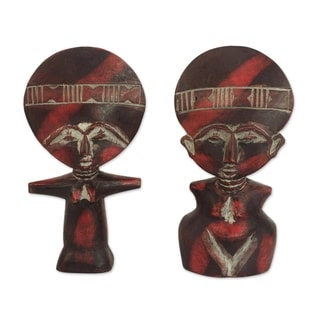 Wood Fertility Dolls, 'Twins' (Pair) (Ghana)