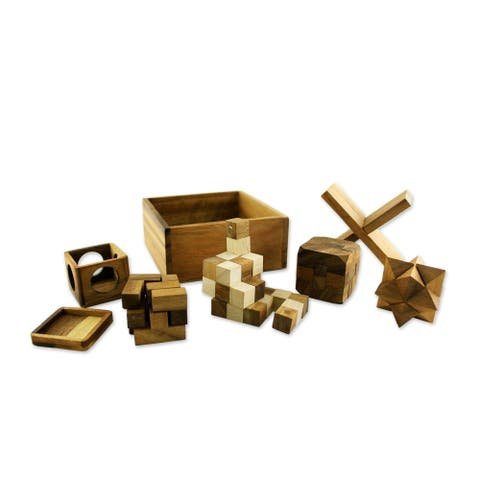 Handmade Wood Puzzles, 'Five Puzzles' (Set of 5) (Thailand)