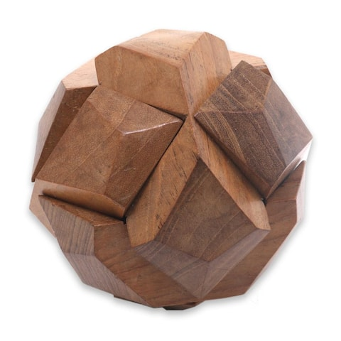 Handmade Wood Puzzle, 'Soccer Ball' (Indonesia)
