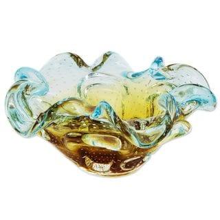 Art Glass Centerpiece, 'Yellow Blue Waves' (Brazil)