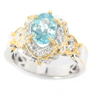 Michael Valitutti Palladium Silver Blue & White Zircon Halo Ring