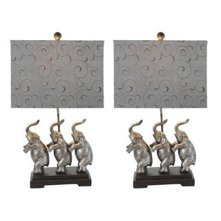 Urban Designs Standing Elephant Trio Rustic SIlver 24-inch Table Lamps (Set of 2)