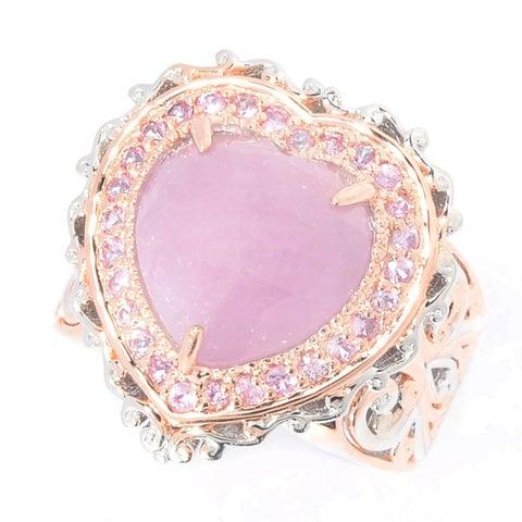 Michael Valitutti Palladium Silver Rose Cut Pink Sapphire Heart & Halo Ring