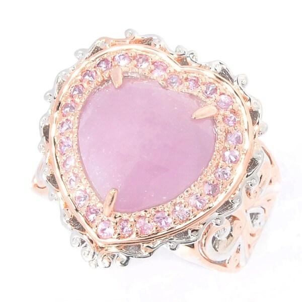 1ac78239aa Michael Valitutti Palladium Silver Rose Cut Pink Sapphire Heart & Halo  Ring