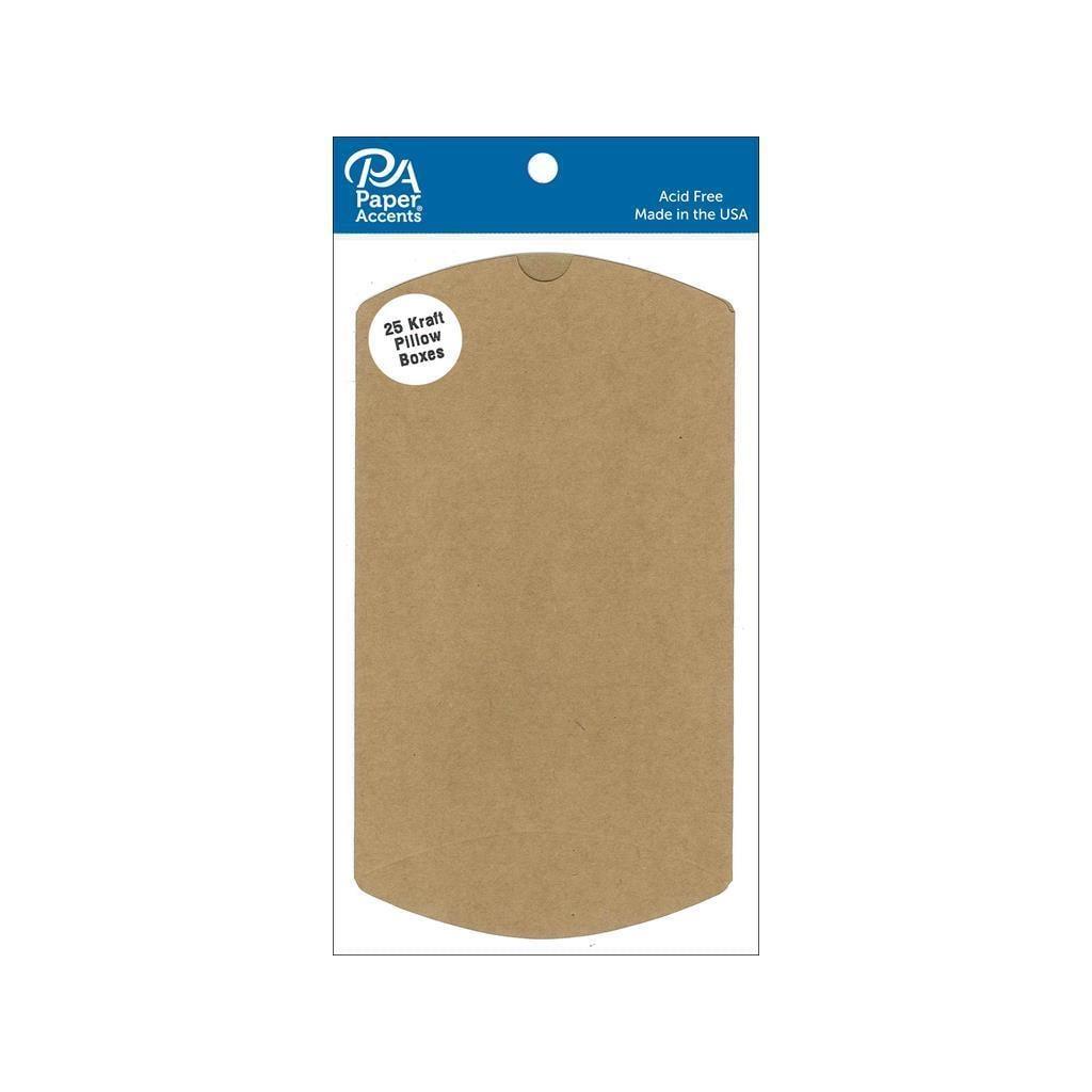 "Wrights Pillow Box 4x1 1/8x6"" Kraft 25pc (Cardstock), Brown"
