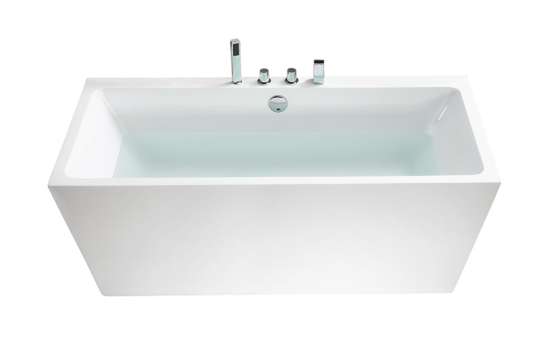 67 inch Belvedere Acrylic Rectangular Soaking Bathtub (Wh...