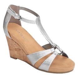 Women's Aerosoles Plush Ahead Wedge Sandal Silver Faux Leather