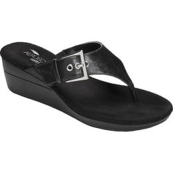 Women's Aerosoles Flower Thong Sandal Black Faux Leather