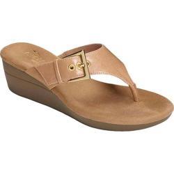 Women's Aerosoles Flower Thong Sandal Light Tan Faux Leather
