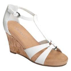 Women's Aerosoles Plush Ahead Wedge Sandal White Faux Leather