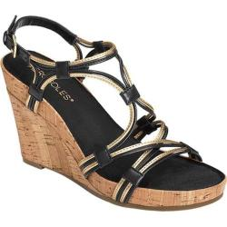 Women's Aerosoles Real Plush Wedge Sandal Black Combo Leather