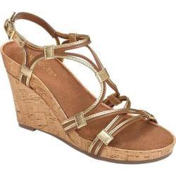 Women's Aerosoles Real Plush Wedge Sandal Dark Tan Combo Leather