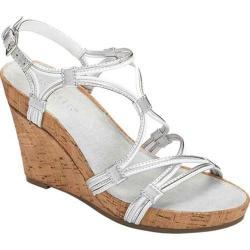 Women's Aerosoles Real Plush Wedge Sandal White Combo Leather