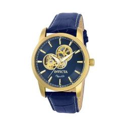 Men's Invicta Objet D Art 22617 Navy Blue Leather/Gold