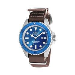 Men's Invicta Pro Diver 17580 Brown Leather/Silver/Blue/Ivory