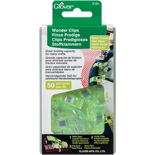 Clover Wonder Clips Neon Green 50pc