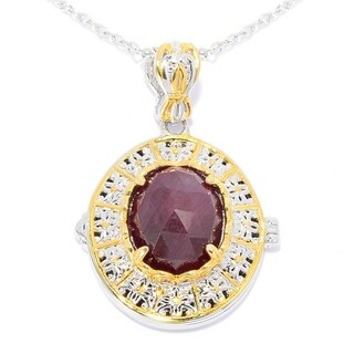Michael Valitutti Palladium Silver Oval Rose Cut Ruby Cut-out Scrollwork Locket Pendant