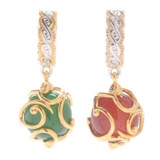 Michael Valitutti Palladium Silver Green/Red Chalcedony Bead Ornament Slide-on Charm