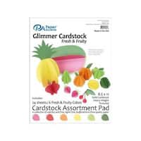 Cardstock Pad 8.5x11 24pc Glimmer Fresh&Fruity Ast