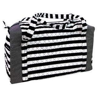 Darice Fashion Bags Black and White Striped Fabric Duffel