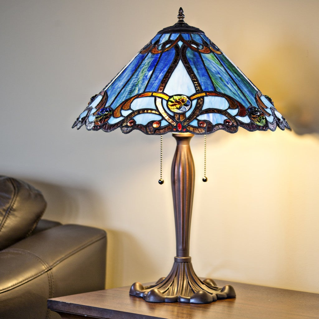 Shop Black Friday Deals On Gracewood Hollow Guene Blue Stained Glass Tiffany Style Table Lamp 18 L X 18 W X 25 5 H Overstock 23544063