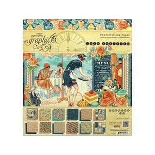 Graphic 45 Cafe Parisian Paper Pad 8x8