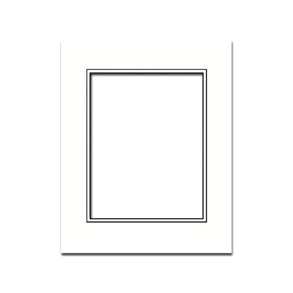 ADF Mat Dbl 11x14/8x10 BlkCore White/White
