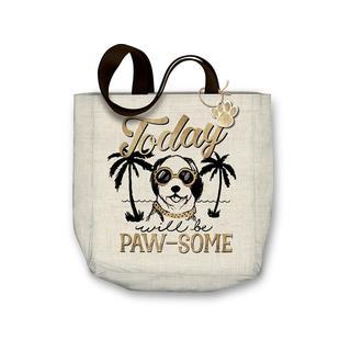 "Molly & Rex Canvas Tote Bag 15x16"" Pawsome Dog"