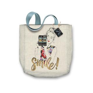 "Molly & Rex Canvas Tote Bag 15x16"" Camera Girl"