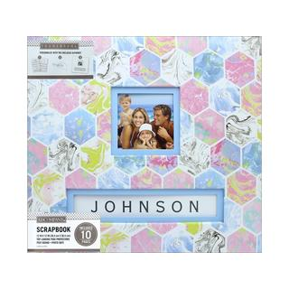 K&Co Scrapbook 12x12 Frame-A-Name Marbled Hexagon