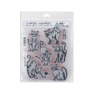 Stampers Anonymous Tim Holtz Crazy Cats Cling Stamps