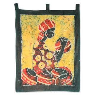 Batik Wall Hanging, 'Pot Lady' (Ghana)