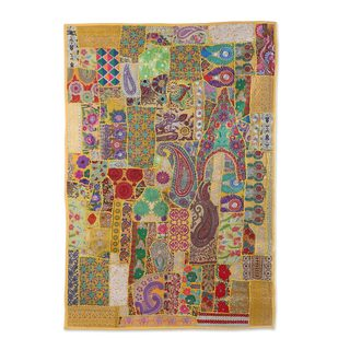 Patchwork Wall Hanging, 'Kaleidoscope Attraction' (India)