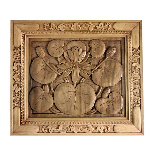 Shop wood relief panel lotus blossom indonesia brown on