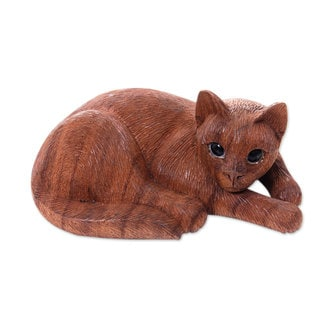 Wood Sculpture, 'Sweet Ginger Tabby' (Indonesia)