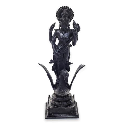 NOVICA Bronze Sculpture, 'Saraswati' (Indonesia)