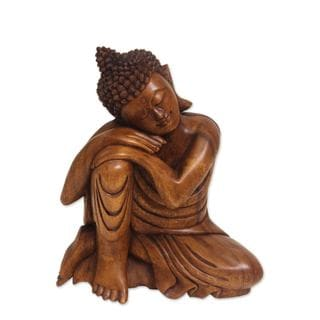 Wood Statuette, 'Relaxing Buddha' (Indonesia)