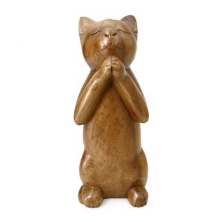 Wood Sculpture, 'Wishing Cat' (Indonesia)