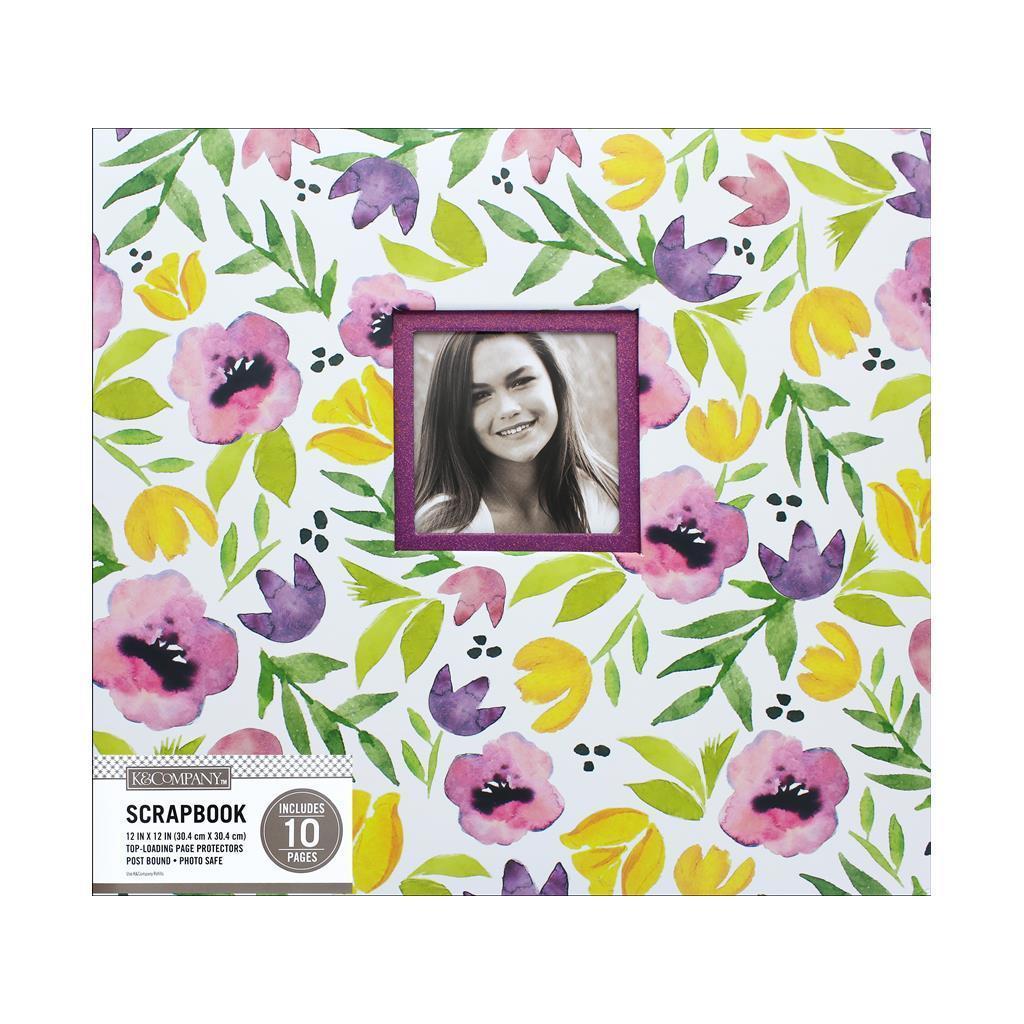 K & Company K;Co Scrapbook 12x12 Purple Poppies Watercolor